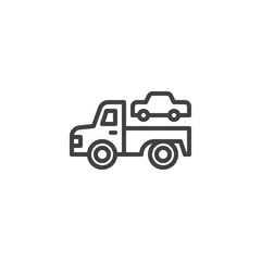Towing truck outline icon. linear style sign for mobile concept and web design. Transportation truck simple line vector icon. Symbol, logo illustration. Pixel perfect vector graphics