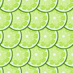 Lime slices tile  seamless pattern. Bright green Citrus. Vector print. Wallpaper.