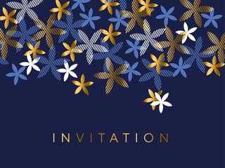 Elegant blue and gold floral element