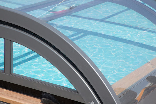 Detail of roof in swimming pool in summer