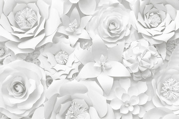 Poster Bloemen White paper flower wall, floral background, wedding card, greeting card template