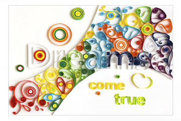 Quilling paper flower designs on white background