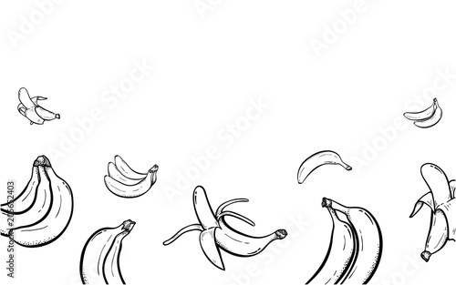 Banana Frame hand drawn background with place for your text on top ...
