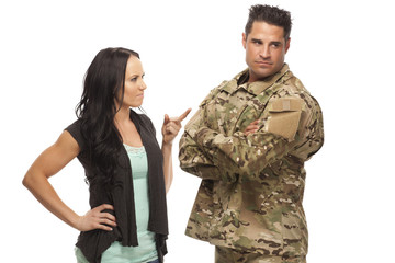 military Couple arguing with each other