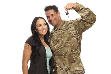 Military Army Couple with new car key