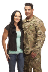 Soldier embracing his wife
