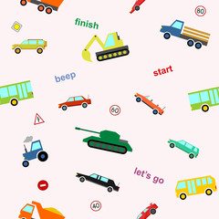 Cute kids car seamless pattern colorful cartoon style for scrapbooking, printing on fabric, decoration, banner, greeting card, sale, gift wrap, promotion, party poster. Vector Illustration 10 eps