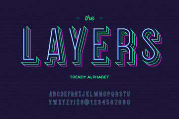 Layers font. Alphabet modern typography sans serif colorful line style for party poster, printing on fabric, t shirt, promotion, decoration, stamp, label, special offer. Vector Illustration 10 eps