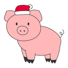Pink pig in red hat. Oriental New Year 2019 symbol. Vector illustration.