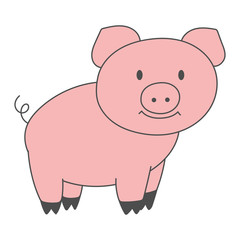 Pink pig silhouette. Piggy, piglet drawing. Vector illustration.