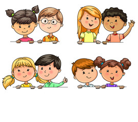 Funny children in pairs different nationalities holding banner