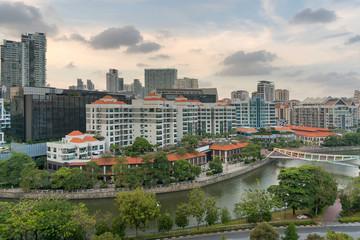 Singapore Cityscape along Robertson Quay