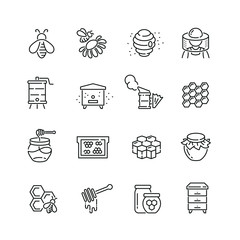 Honey and beekeeping related icons: thin vector icon set, black and white kit