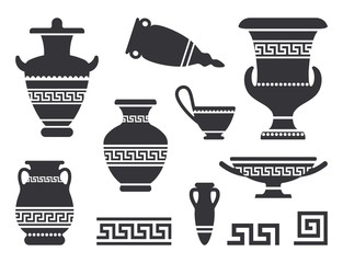 Vector ancient black greek vases set