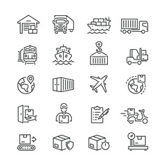 Obraz Logistics and transportation related icons: thin vector icon set, black and white kit - fototapety do salonu