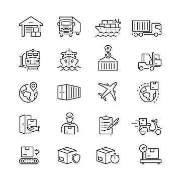 Logistics and transportation related icons: thin vector icon set, black and white kit