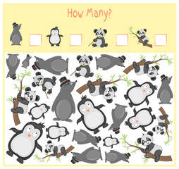 Counting game for Preschool Children. mathematical Educational game. Count how many items and write the result. Wild and domestic animals. Nature.