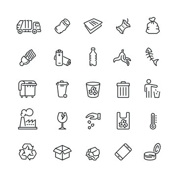 Garbage related icons: thin vector icon set, black and white kit