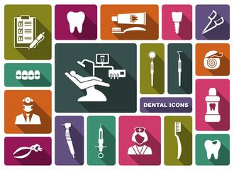 Dental icons. Vector Illustration.
