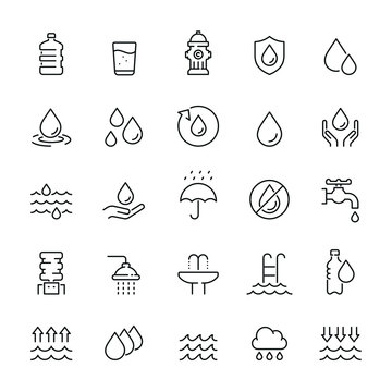 Water related icons: thin vector icon set, black and white kit