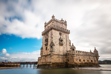 Fortified Belém Tower on a cloudy Winter day