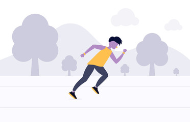 Running man flat design. Sport. Run. Active fitness. Flat cartoon style. Active lifestyle.