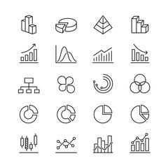 Graph related icons: thin vector icon set, black and white kit