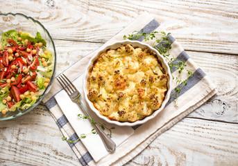 Cauliflower bake and fresh salad