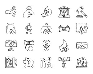 Bankruptcy charcoal draw line icons vector set