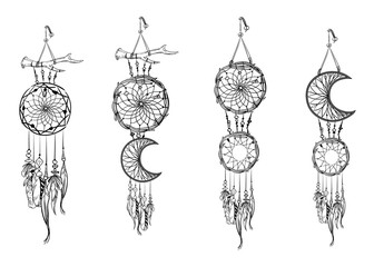 Set of hand drawn dream catchers. Ornate ethnic items, feathers and beads. Monochrome vector illustration.