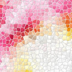 abstract nature marble plastic stony mosaic tiles texture background with gray grout - rose pink, magenta, orange, soft yellow and white colors