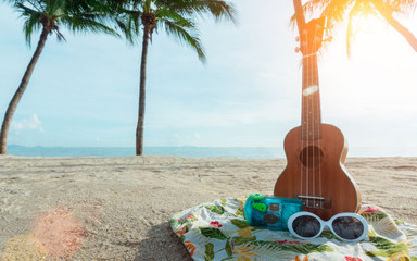 Background summer on beach,guitar,sunglasses,Camera