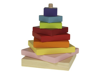 Wooden multicolored children's toy made up of a pyramid on a white background