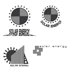 illustration consisting of three images of solar panels in the form of a logo