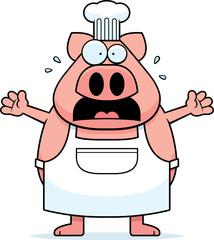 Scared Cartoon Pig Chef