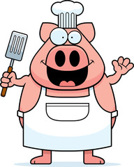 Cartoon Pig Chef Waving