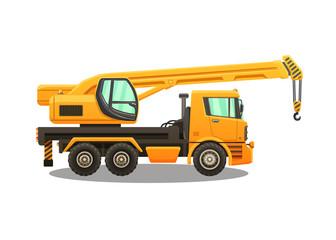Detailed vector illustration of truck crane.