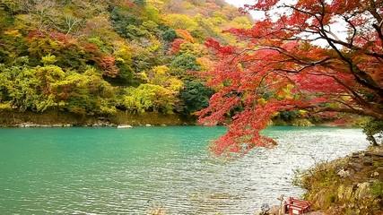 Wall Mural - Arashiyama in autumn season along the river in Kyoto, Japan.