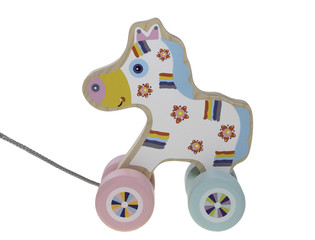 Wooden colored children's toy walk-a-long a horse on a white background
