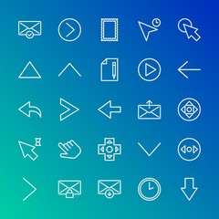Modern Simple Set of arrows, cursors, email Vector outline Icons. Contains such Icons as  circle,  technology,  send, arrow,  message and more on gradient background. Fully Editable. Pixel Perfect.