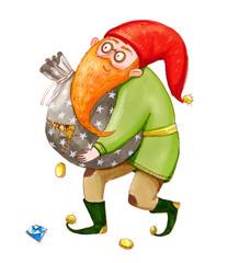 Smiling dwarf carries a torn bag full of coins. Color marker illustration