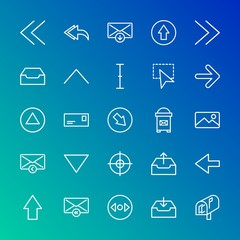Modern Simple Set of arrows, cursors, email Vector outline Icons. Contains such Icons as arrow,  data, letter,  mail,  scroll, left, up and more on gradient background. Fully Editable. Pixel Perfect.
