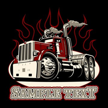 Cartoon retro semi truck