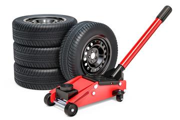 Car wheels with hydraulic floor jack, 3D rendering