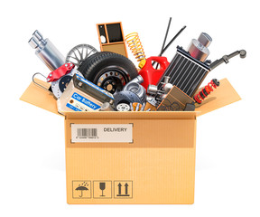 Cardboard box, parcel with car parts. 3D rendering
