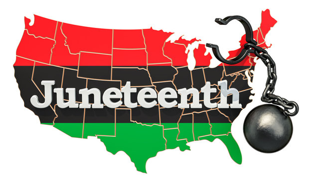 Juneteenth Independence Day concept, 3D rendering