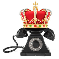 Phone with golden crown, 3D rendering