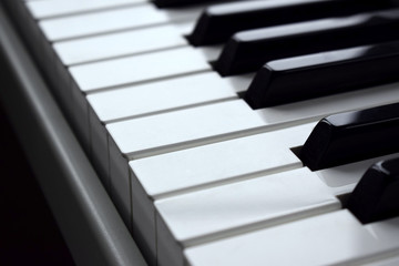 Close-up of black and white piano keys