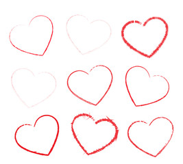 Heart vector icons set isolated over white background