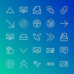 Modern Simple Set of arrows, cursors, email Vector outline Icons. Contains such Icons as  button,  mouse,  office,  mail,  chat,  up, up and more on gradient background. Fully Editable. Pixel Perfect.